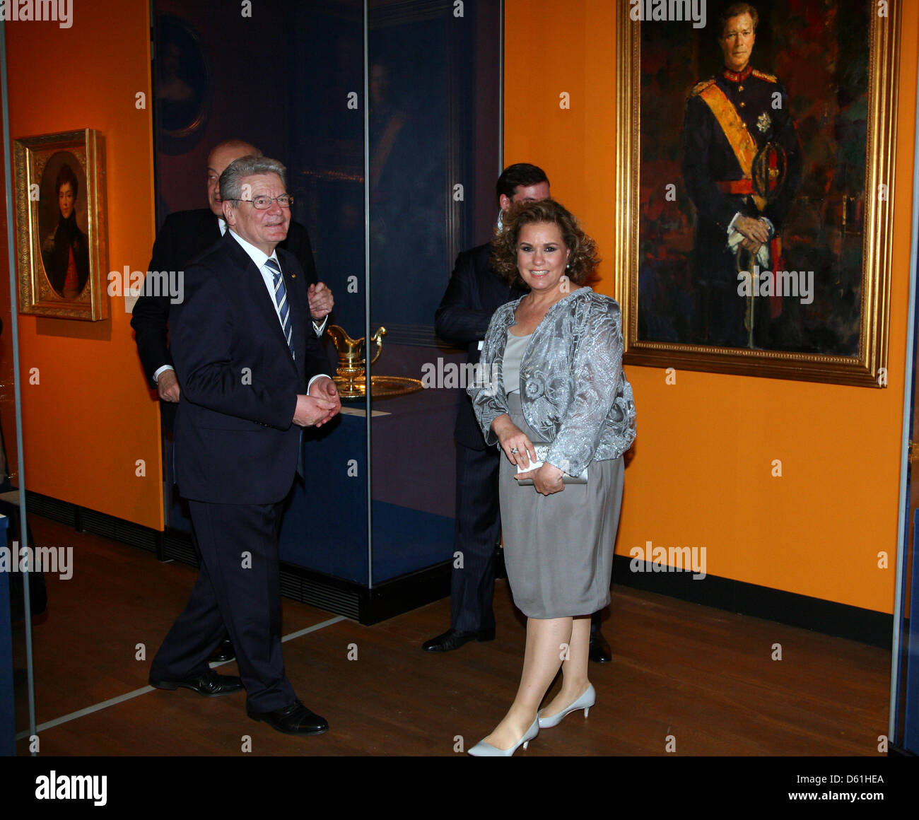 German President Joachim Gauck and Grand Duchess of Luxembourg Maria Teresa are pictured at an exhibition at the - Stock Image