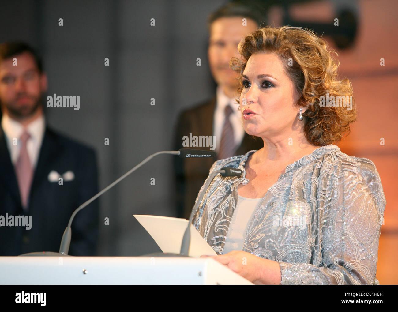 Grand Duchess Maria Teresa speaks at the German Historical Museum in Berlin, Germany, 24 April 2012. The Grand Duke - Stock Image