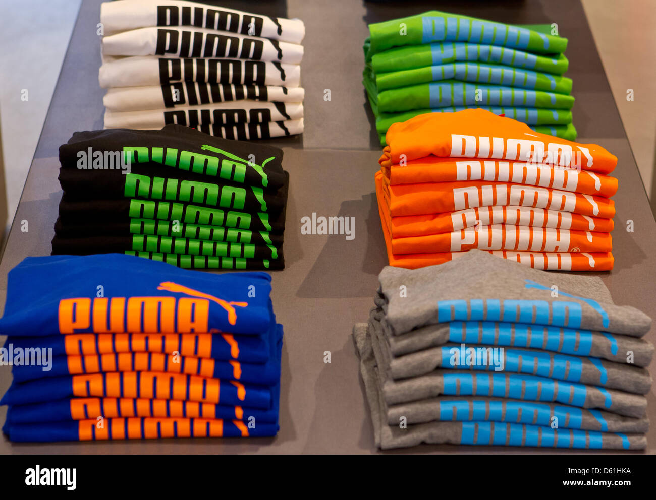 Clothing by the sportswear manufacturer Puma are displayed in a