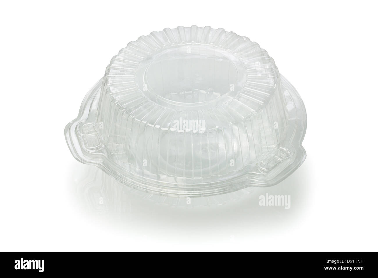Empty Transparent plastic Container on White Background - Stock Image