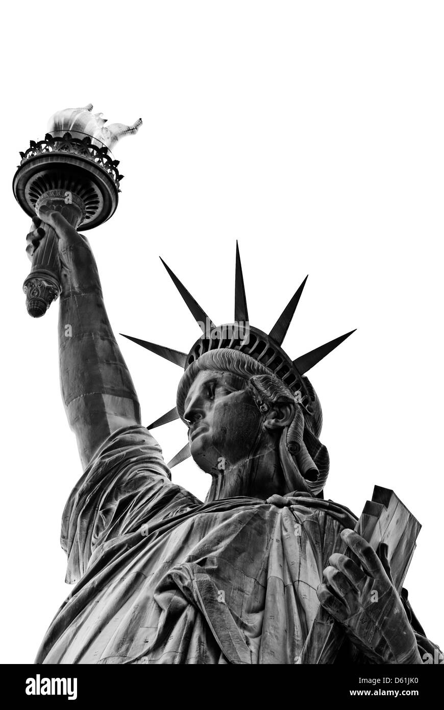 Statue of Liberty, New York City, New York, United States of America, USA - black and white, isolated on white background - Stock Image