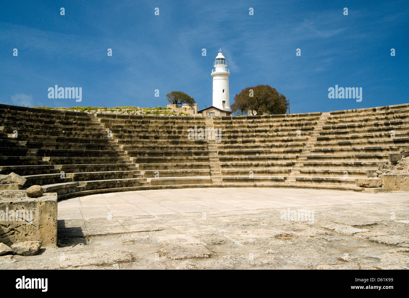 lighthouse and odeon, archaeological park, paphos, cyprus. Stock Photo