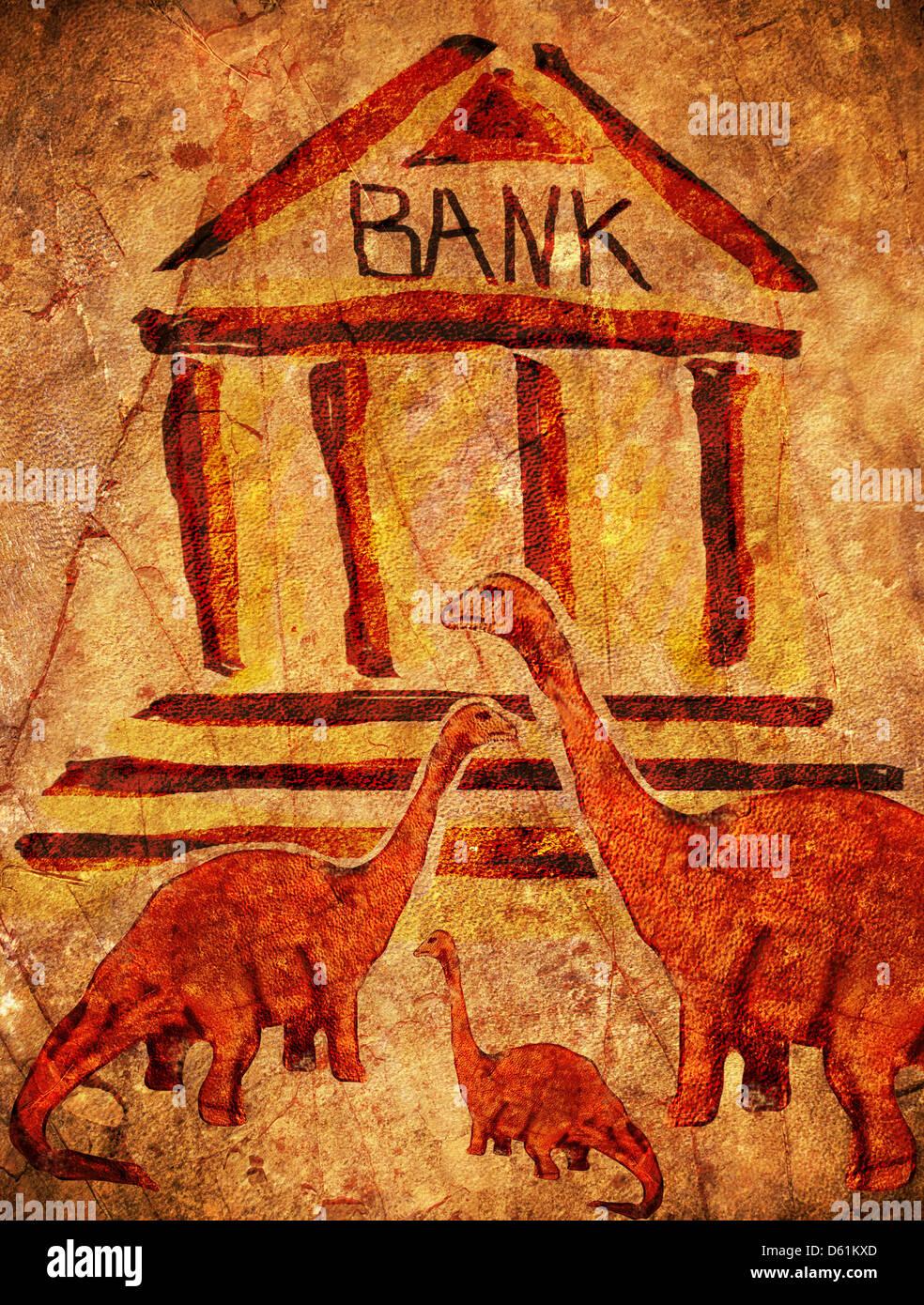 prehistoric bank with dinosaurs digital illustration - Stock Image