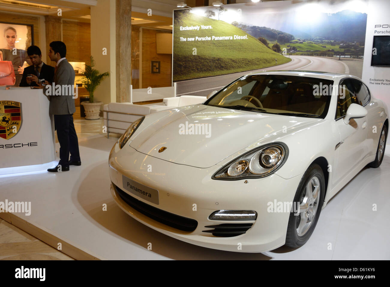 A Porsche Sports Car On Display With A Sale At The Dlf Emporio