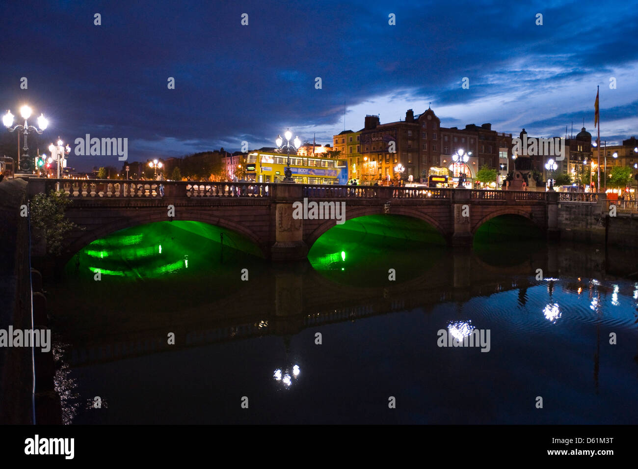 Horizontal upstream view of the O'Connell Bridge or Droichead Uí Chonaill crossing the River Liffey in Dublin at Stock Photo