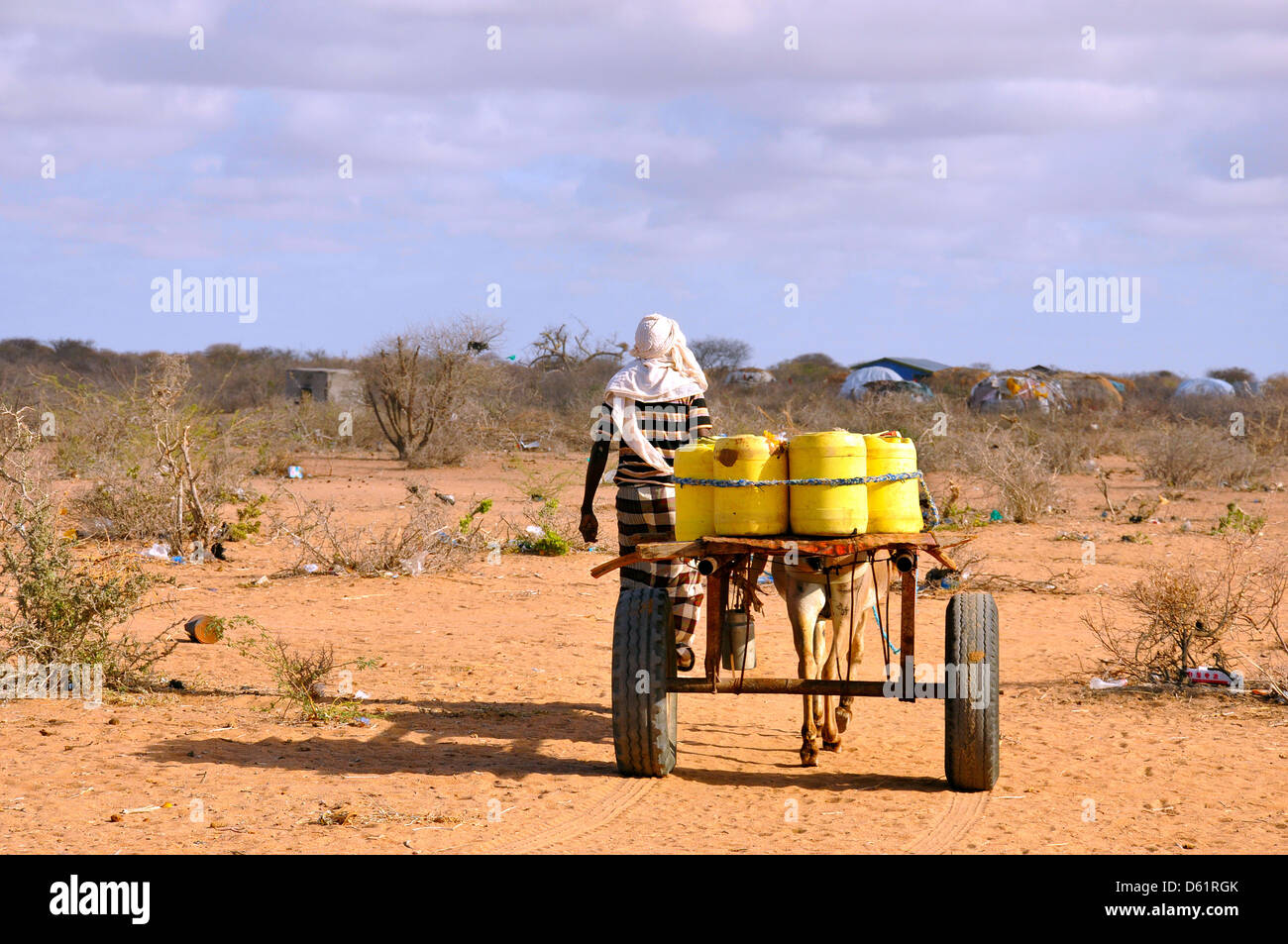 Somali migrant camp Garissa Kenya water-bearing male - Stock Image