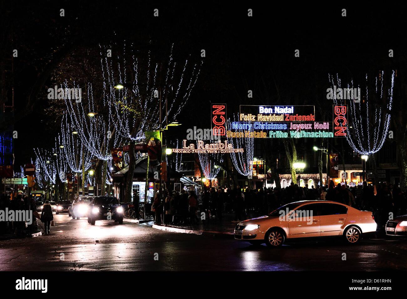 Buon Natale Meaning In English.Barcelona Spain Dec 23 Christmas Lights In Plaza De Catalunya
