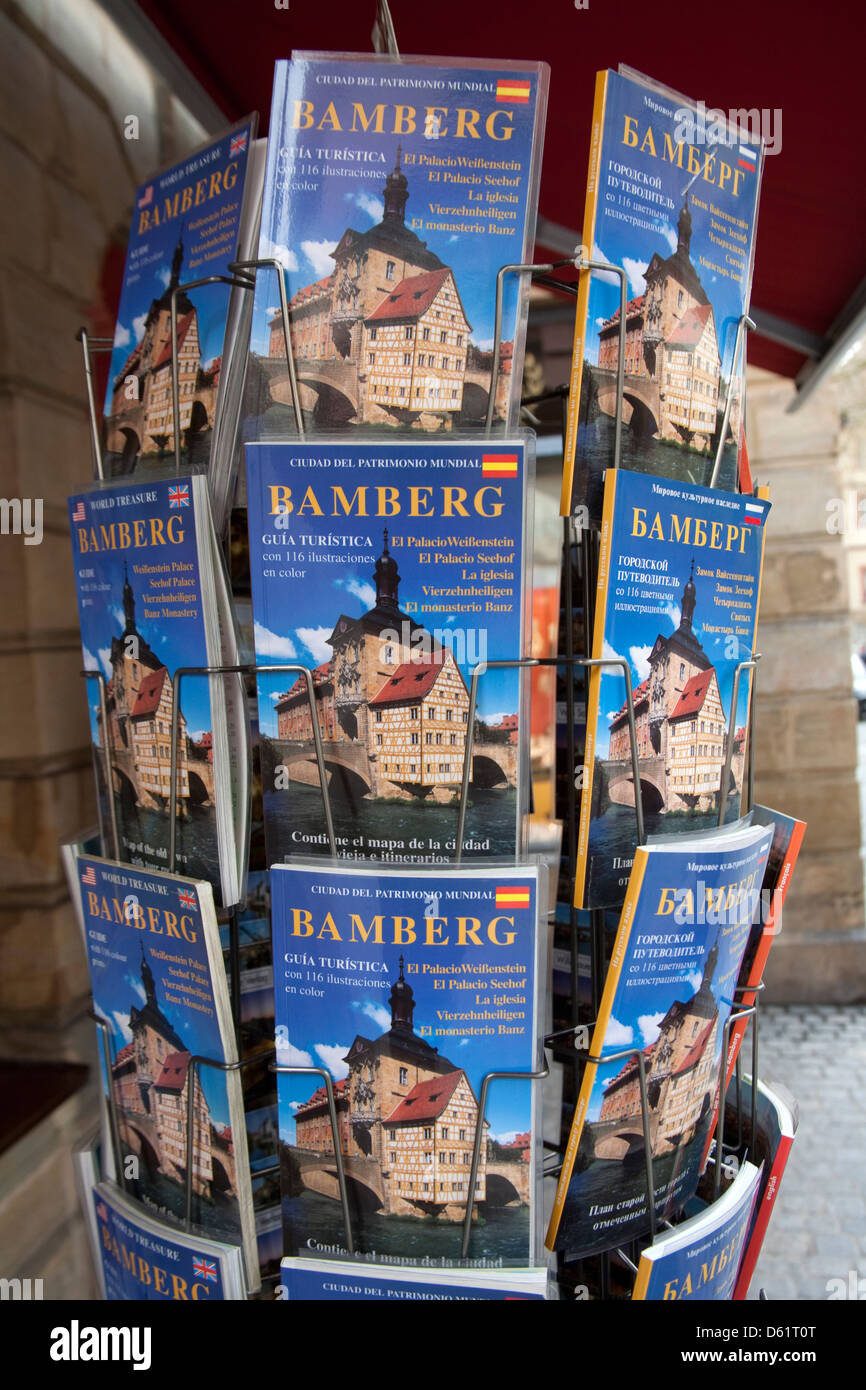 Tourist maps in many languages in Old Town Bamberg, Germany, an UNESCO World Heritage Site. - Stock Image