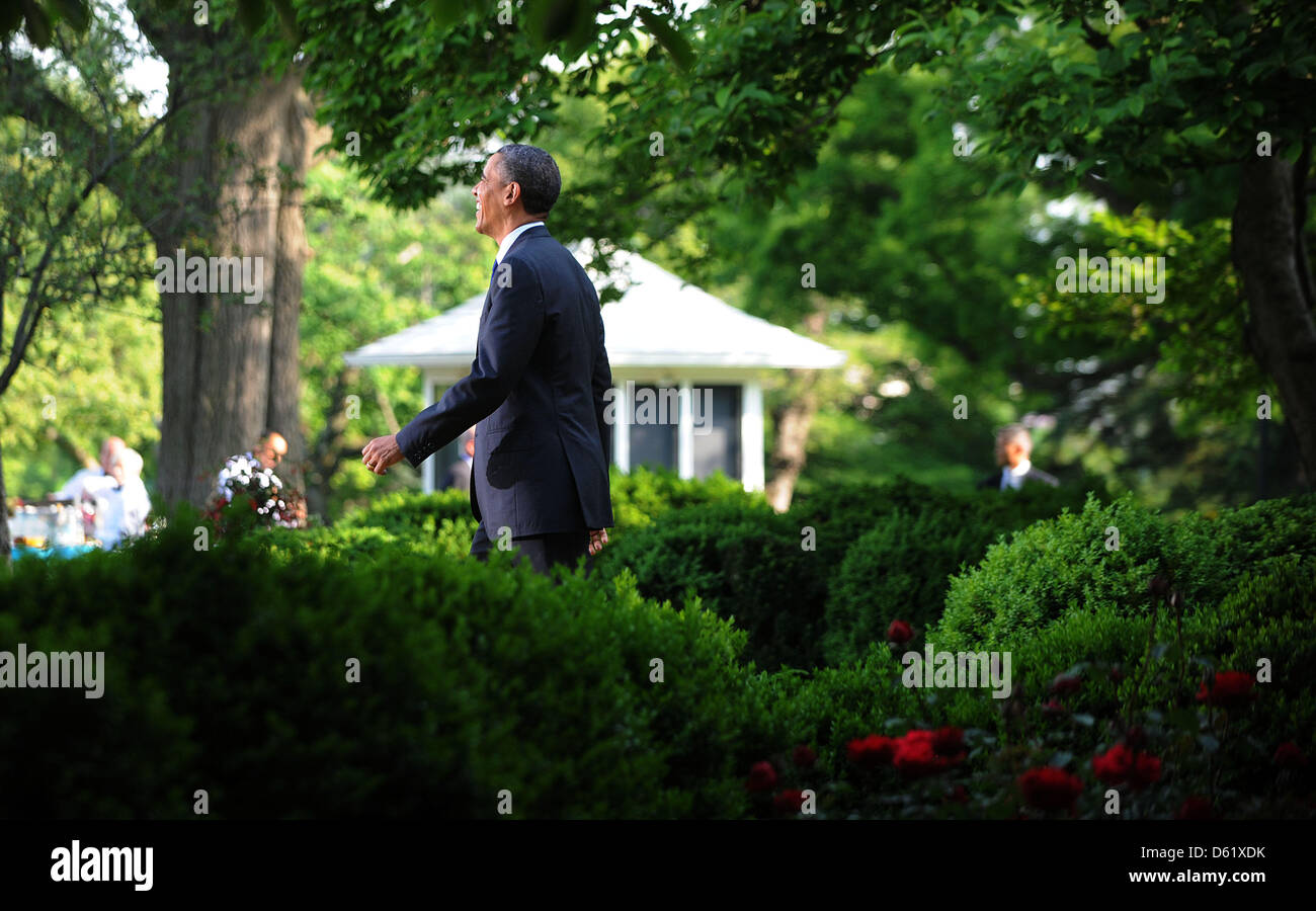 United States President Barack Obama Walks To The Podium During A Cinco De  Mayo Reception In The Rose Garden At The White House In Washington, DC, On  May 3, ...