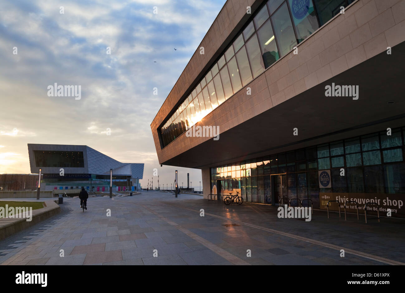 The new Pier Head Ferry terminal, River Mersey,  With the new Museum of Liverpool in B/G  Liverpool, Merseyside, - Stock Image