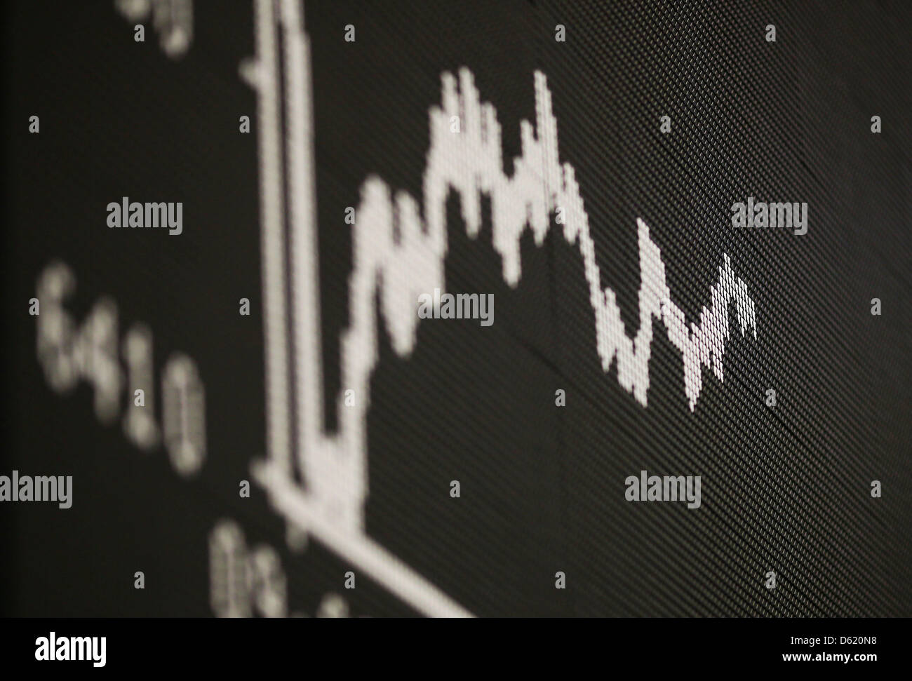 The DAX chart is pictured at the stock market in Frankfurt, Germany, 7 May 2012. Due to insecurities after the elections - Stock Image