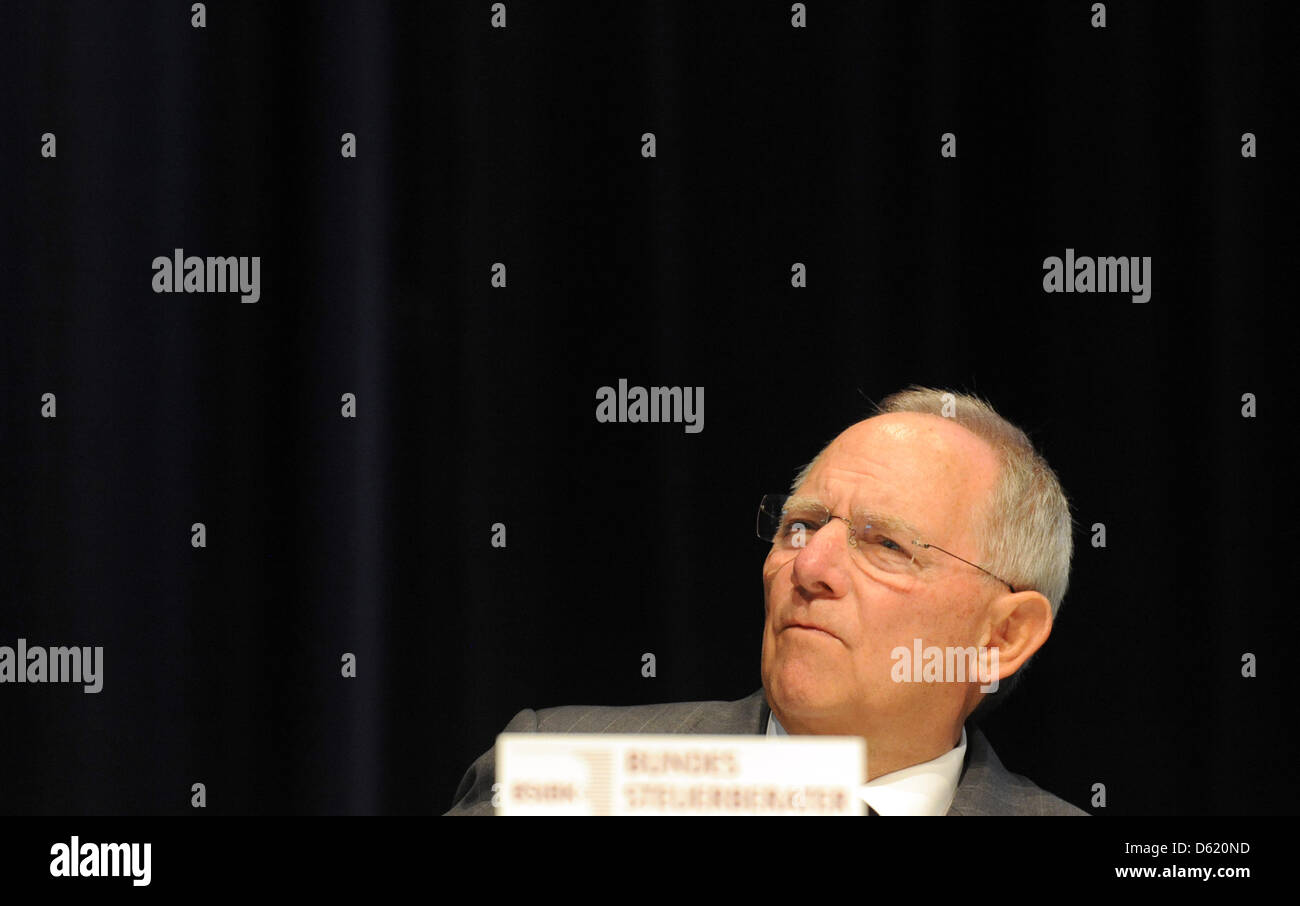German Minister of Fianance Wolfgang Schaeuble speaks during the 50th conference of accountants in Berlin, Germany, Stock Photo