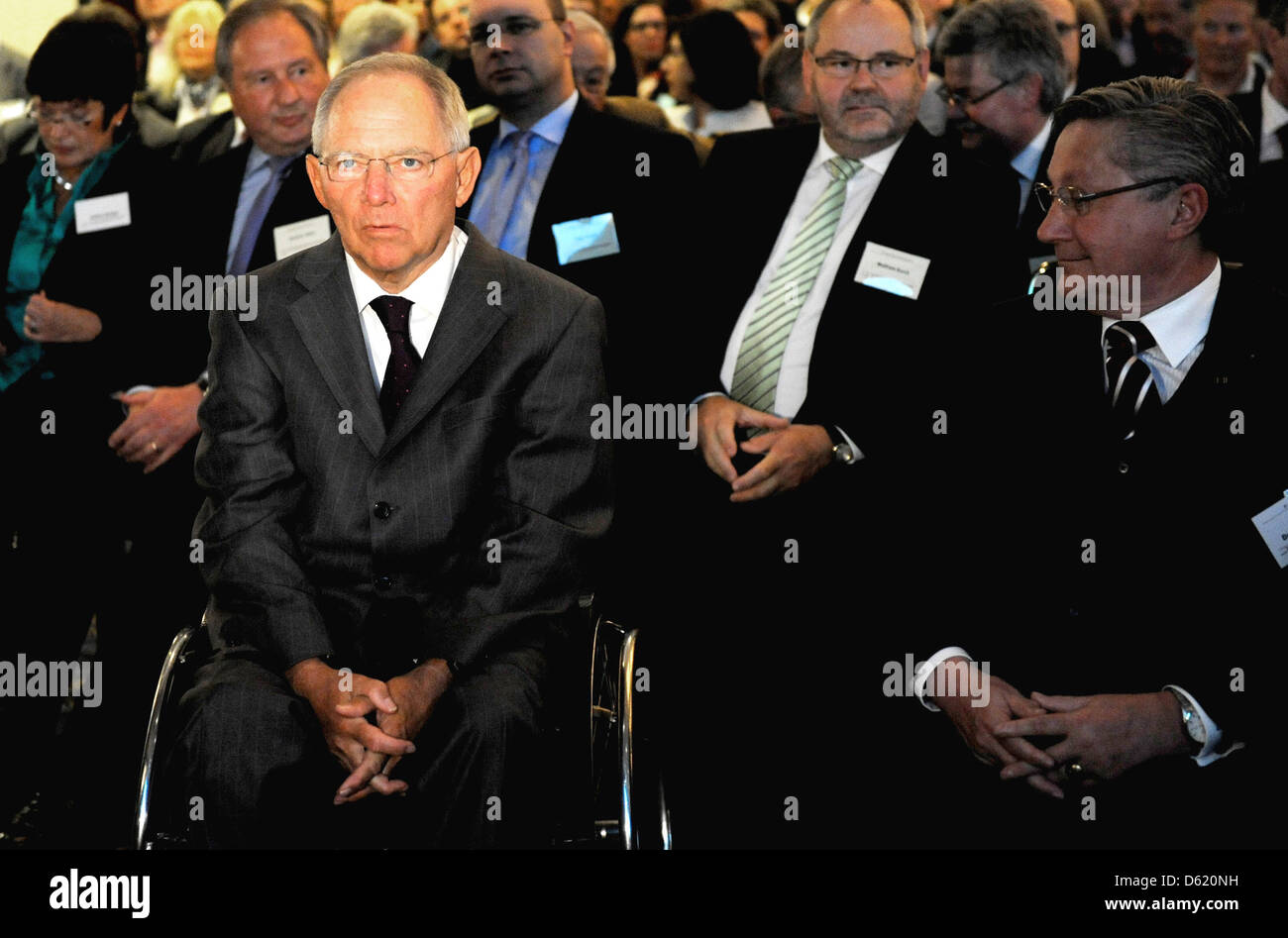 German Minister of Fianance Wolfgang Schaeuble (l) attends the 50th conference of accountants in Berlin, Germany, Stock Photo