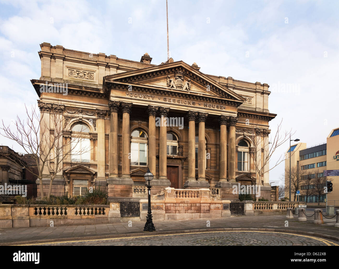 The County Sessions Courthouse built between 1882 and 1884, William Brown Street, Liverpool, Merseyside, England - Stock Image
