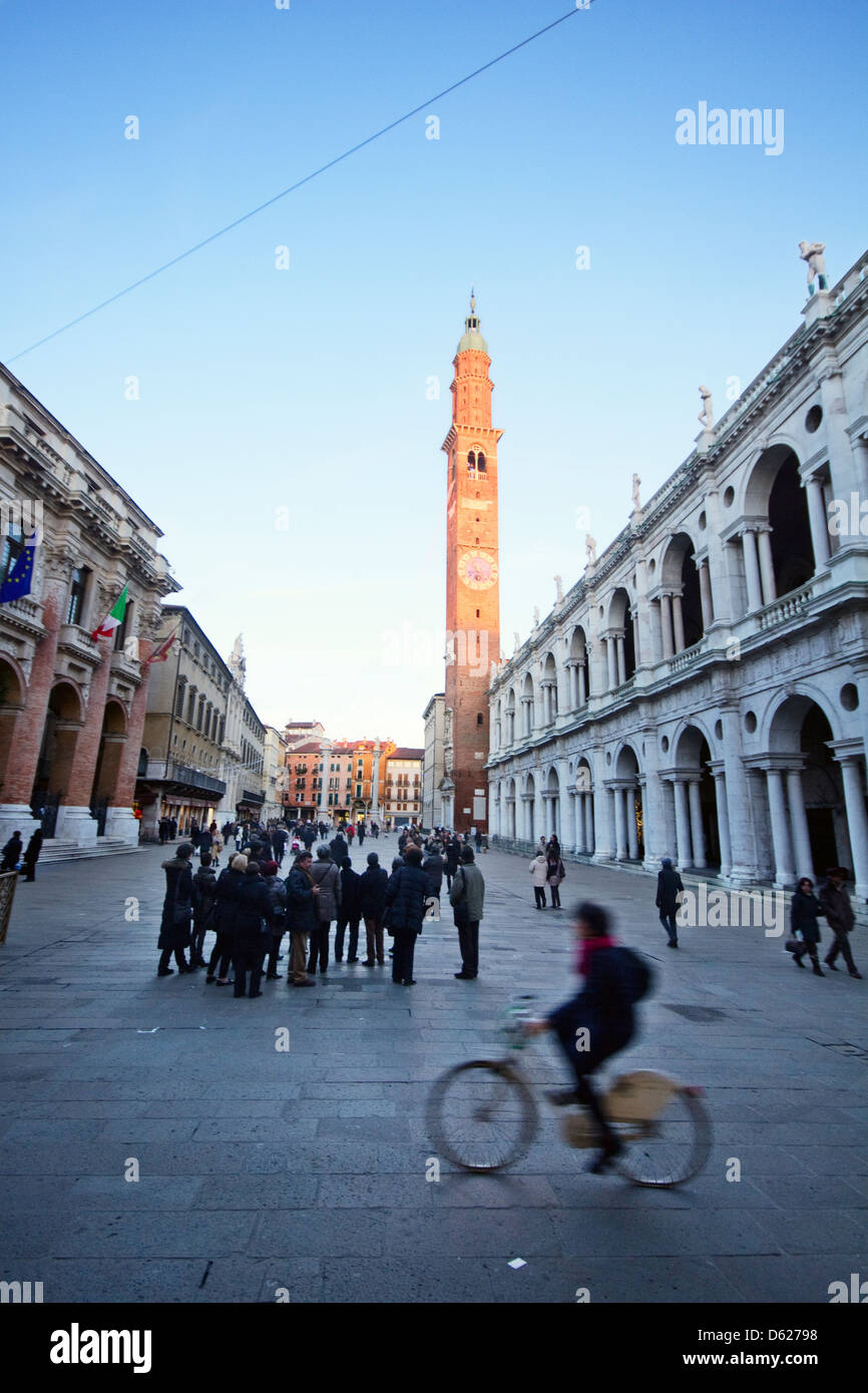 Europe; Italy; Italian; Vicenza; North; Veneto; Unesco; Palladio; Square; Historic center; Bicycle; Basilica; Palladiana; - Stock Image