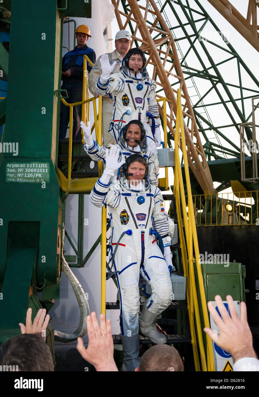Expedition 31 Soyuz Commander Gennady Pedalka, bottom, NASA Flight Engineer Joseph Acaba and Flight Engineer Sergei - Stock Image