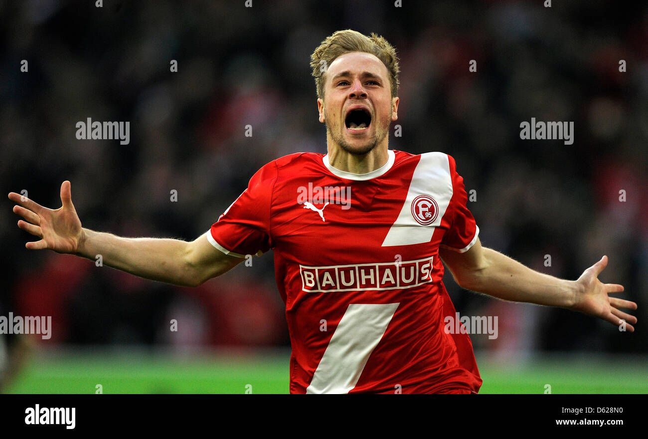 Duesseldorf's Maximilian Beister celebrates his 1-0 goal during the second leg of the Bundesliga relegation - Stock Image