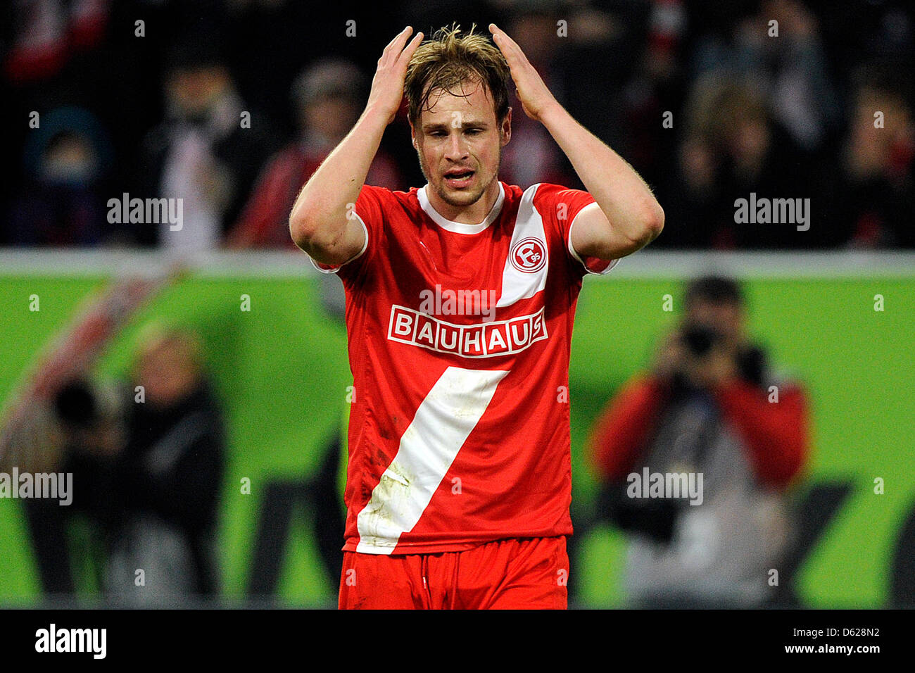 Duesseldorf's Maximilian Beister reacts after a missed goal opportunity during the second leg of the Bundesliga - Stock Image