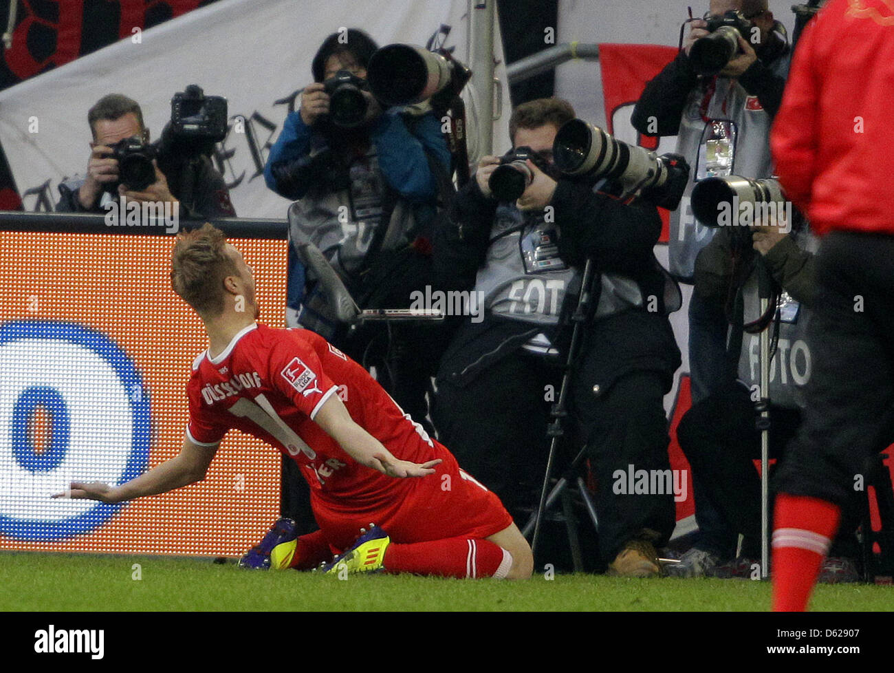Duesseldorf's Maximilian Beister cheers after scoring the 1-0 goal during the Bundesliga soccer match between - Stock Image