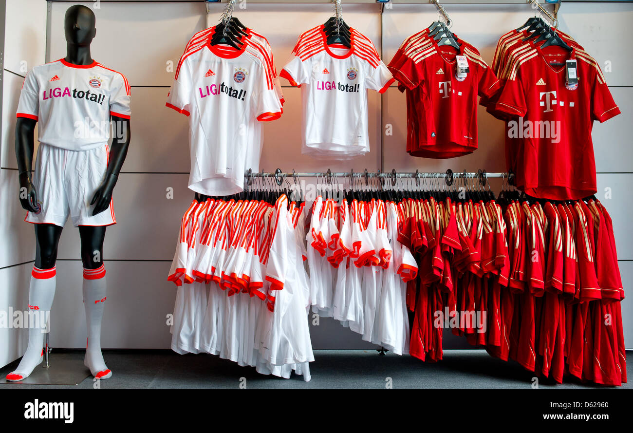 competitive price 18476 a8f3b FC Bayern Munich jerseys hang in a fan shop during the ...
