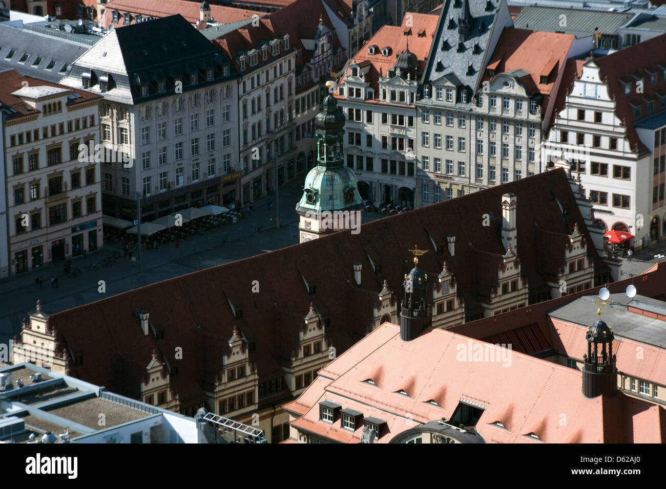 View of Old Town Leipzig, Germany from atop Panorama Tower, the city's only skyscraper. - Stock Image