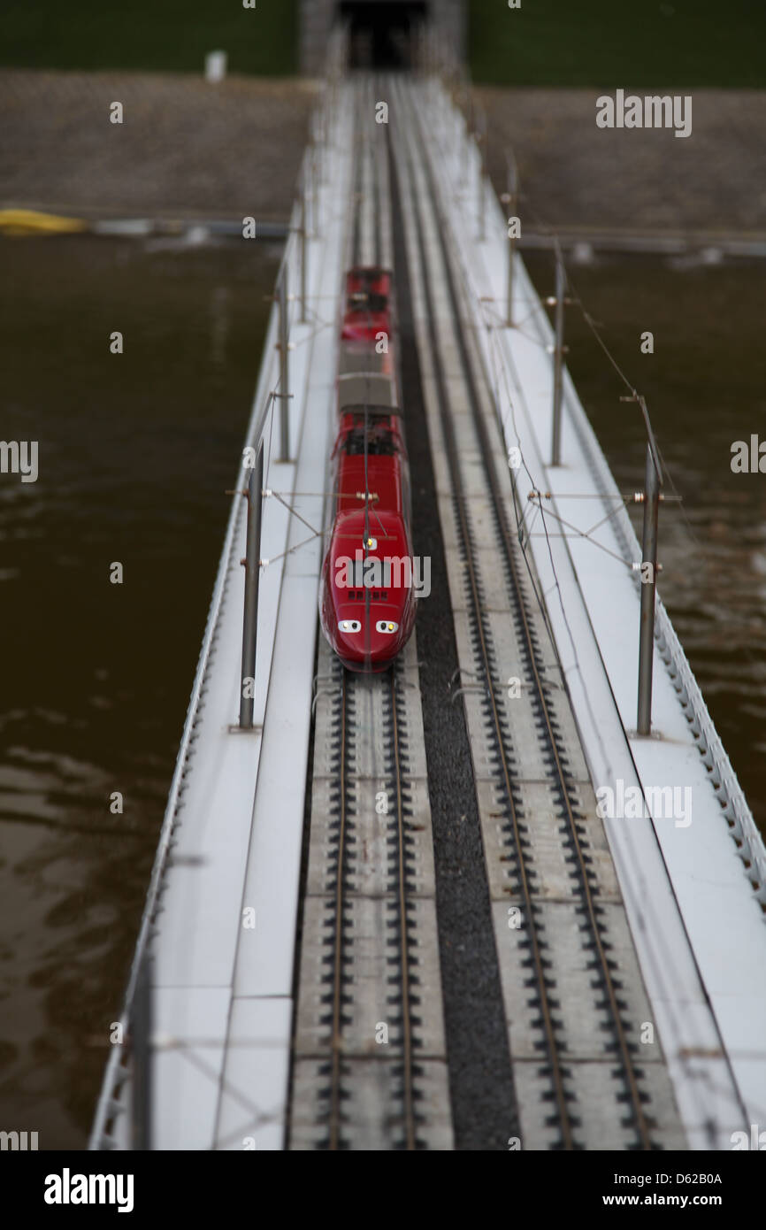 train, toy, Madurodam, railway, red, realistic - Stock Image