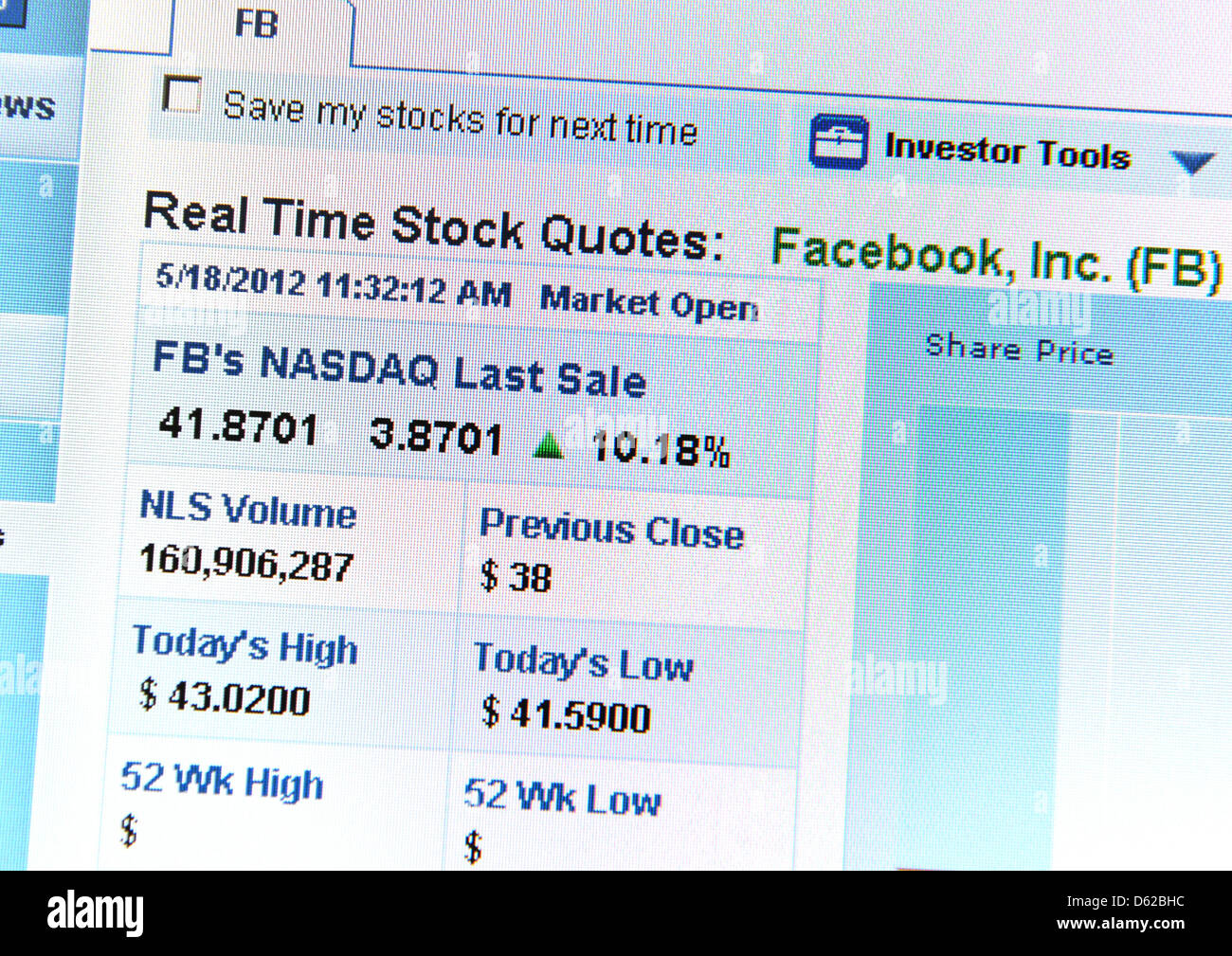 The first quotation for Facebook stock is shown on a monitor on the