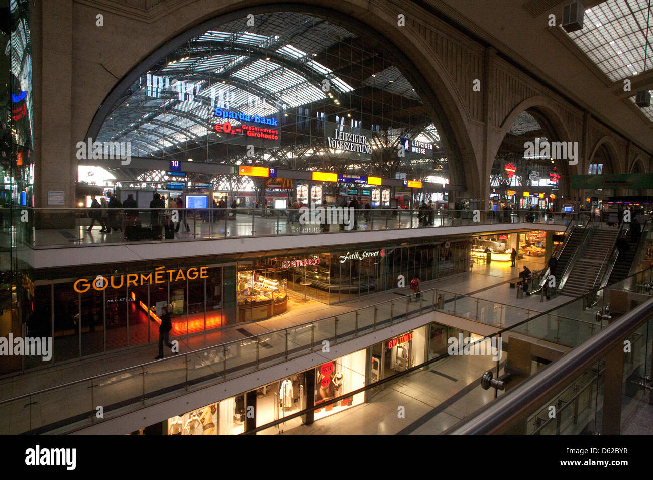 Leipzig, Germany's Central Station is among Europe's largest featuring a shopping mall with hundreds of - Stock Image