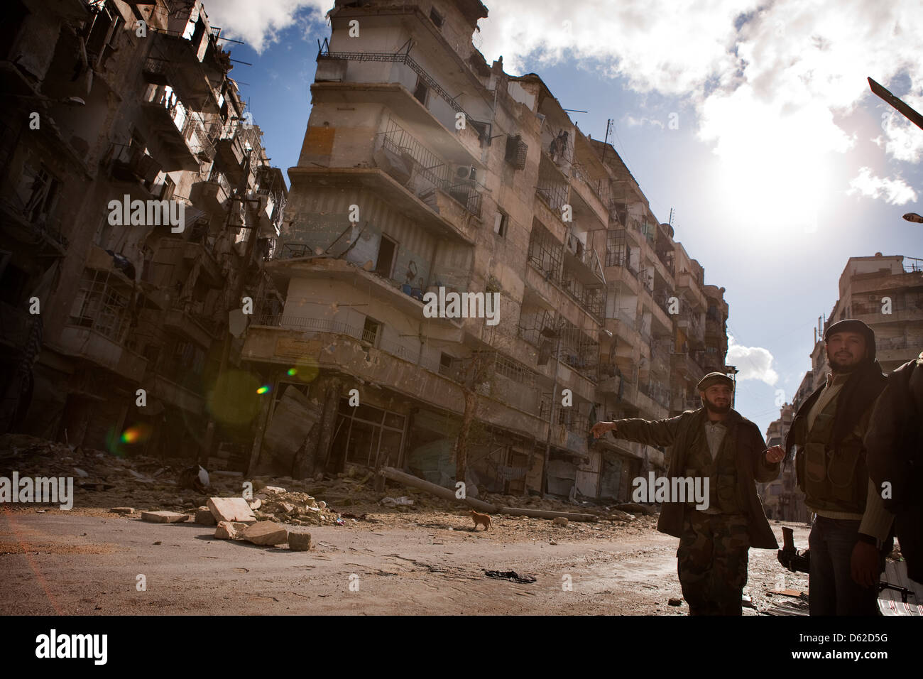 Aleppo, Syria. FSA fighters point at ruined street which is controlled by a government sniper while a cat crosses. - Stock Image