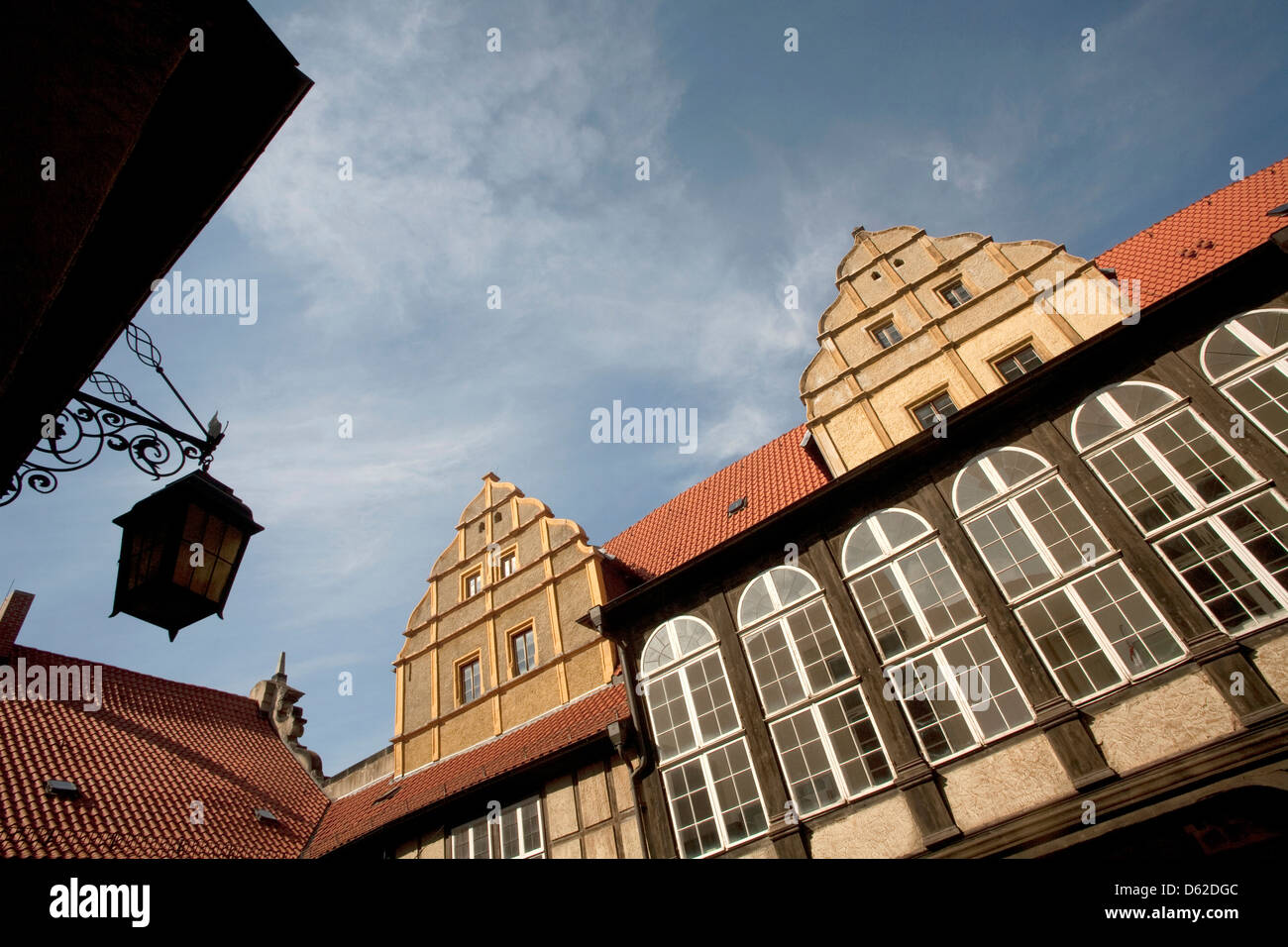 Half- timbered buildings on Castle Hill of St. Servatius Collegiate Church in Quedlinburg, Germany. UNESCO World - Stock Image