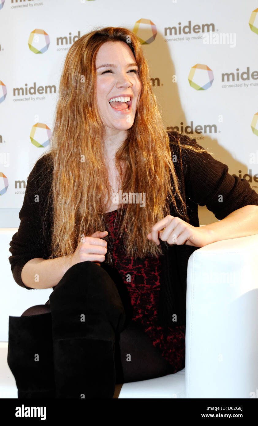 Joss Stone discusses her label Stone'd Records at the Getty Images Music press conference during MIDEM Cannes, - Stock Image
