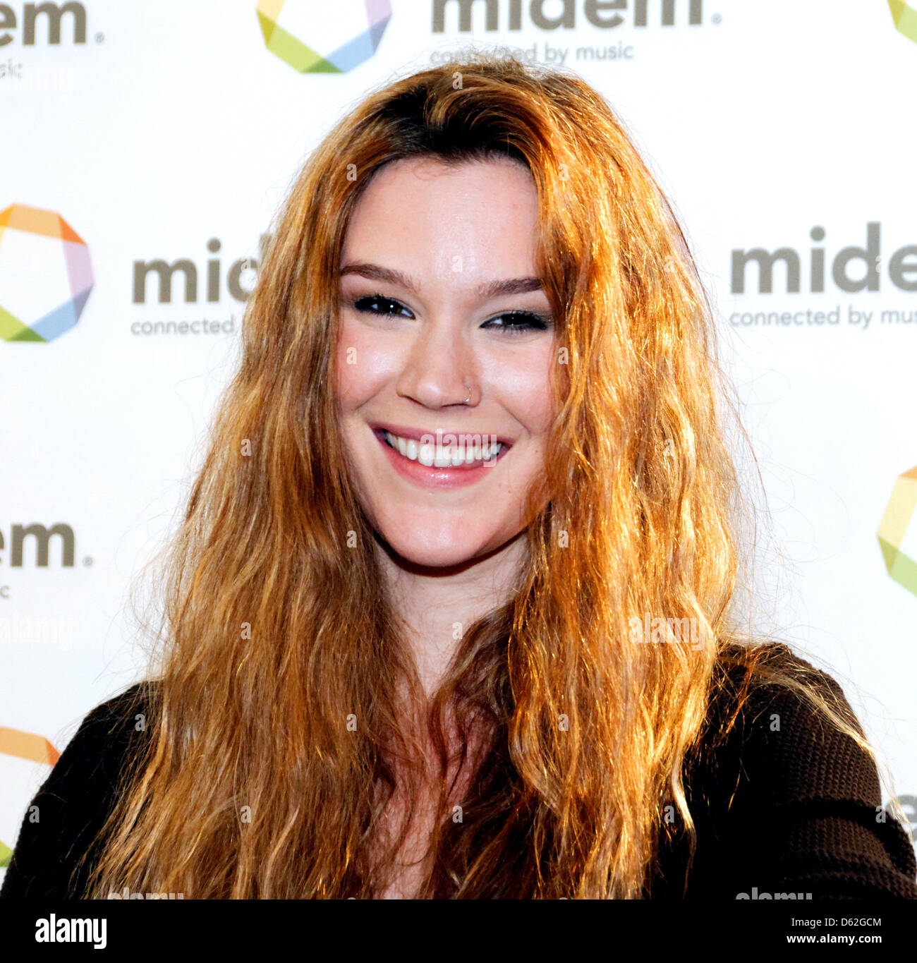 Joss Stone discusses her label Stone'd Records at the Getty Images Music press conference during MIDEM Cannes - Stock Image