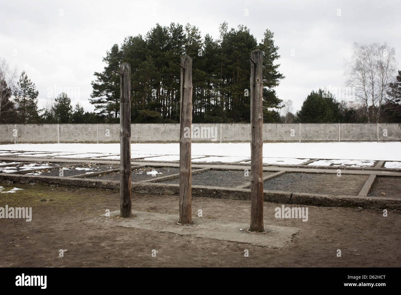 A winter landscape at the location of the special prison block in the Nazi and Soviet Sachsenhausen concentration - Stock Image