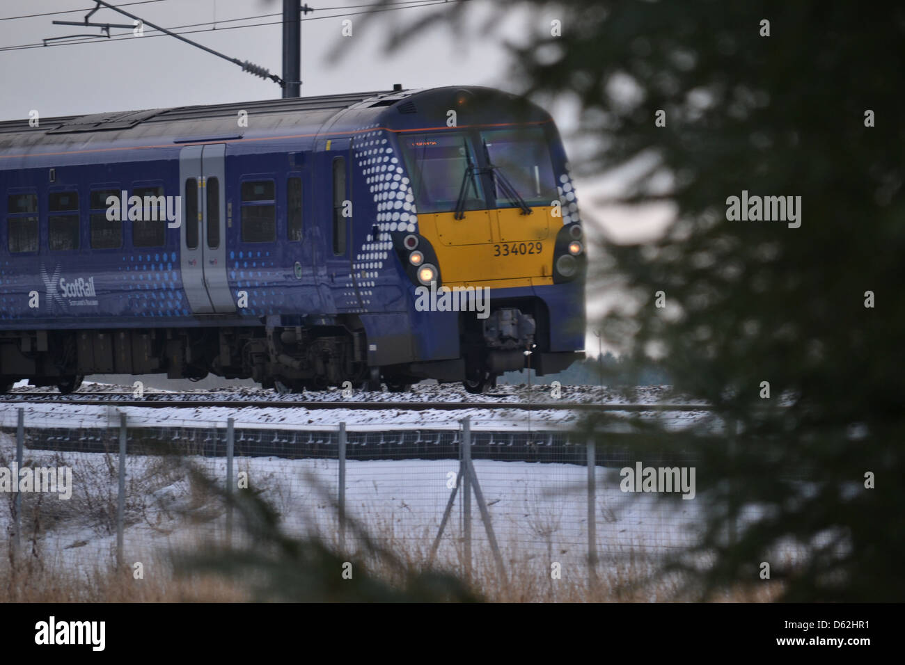 Scotrail train on the Edinburgh to Helensburgh line - Stock Image