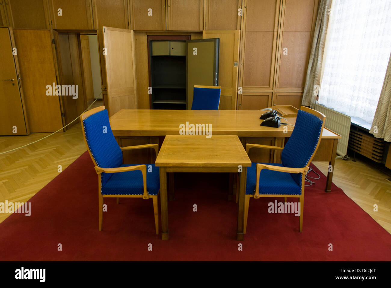 Desk in the preserved office of former Minister in charge of GDR secret police chief, Erich Mielke - an exhibit Stock Photo