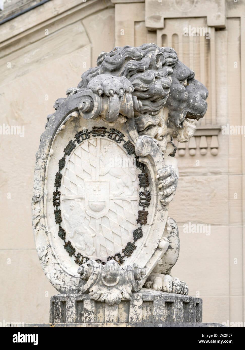Munich, Bavaria, Germany. Nymphenburg Palace. The Bavarian Lion Gargoyle. - Stock Image