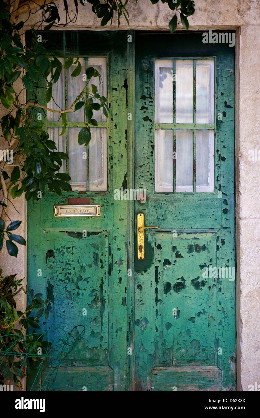 Old Green Door, In The Old Town Of Dubrovnik, Croatia,Europe