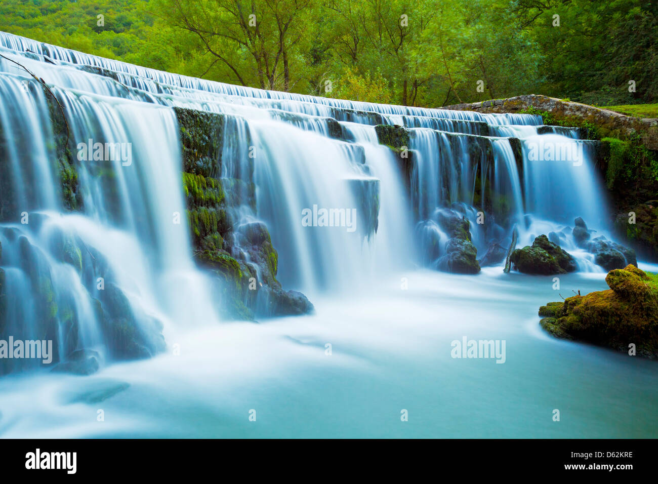 Monsal dale weir waterfall, Peak District National Park, Derbyshire, England, GB, UK, EU, Europe - Stock Image
