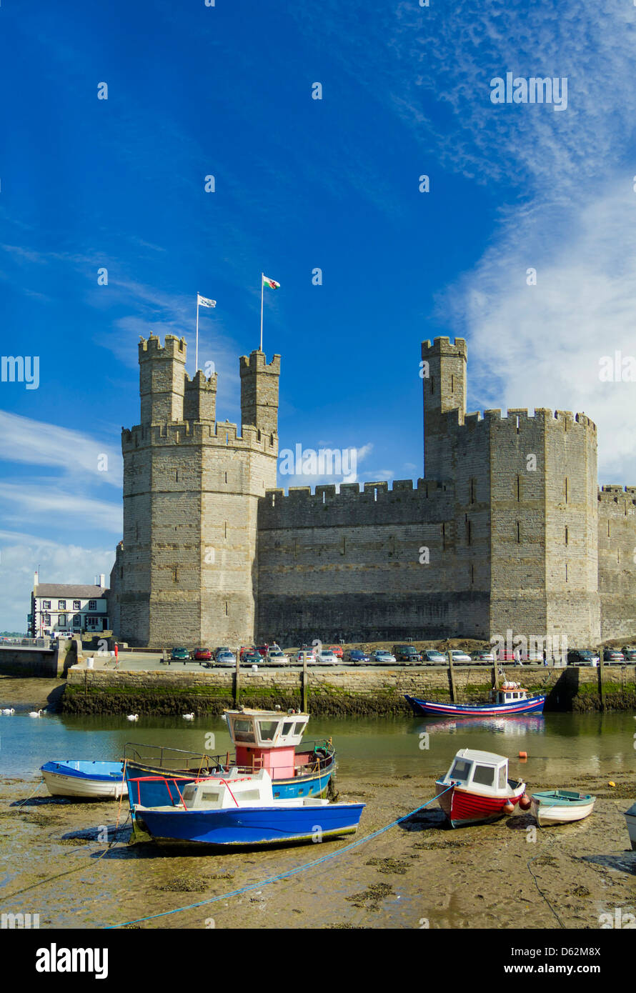 Towers and battlements of Caernarfon Castle a medieval monument in North Wales UK GB EU Europe Stock Photo