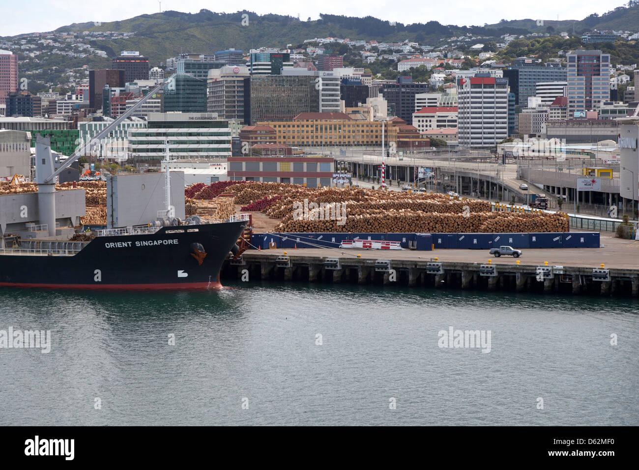 Timber storage Wellington harbour,New Zealand - Stock Image
