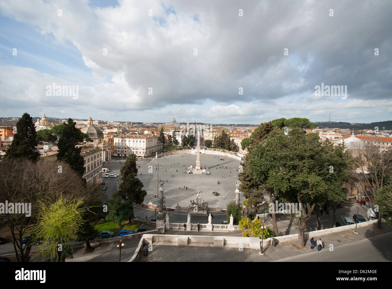 ROME, ITALY. An elevated view of Piazza del Popolo in the Tridente district of the city, as seen from Monte Pincio. - Stock Image