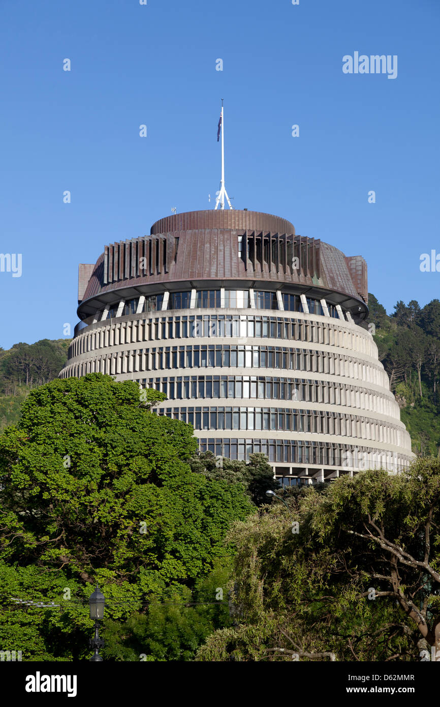 The Beehive, New Zealand's Parliament building - Stock Image