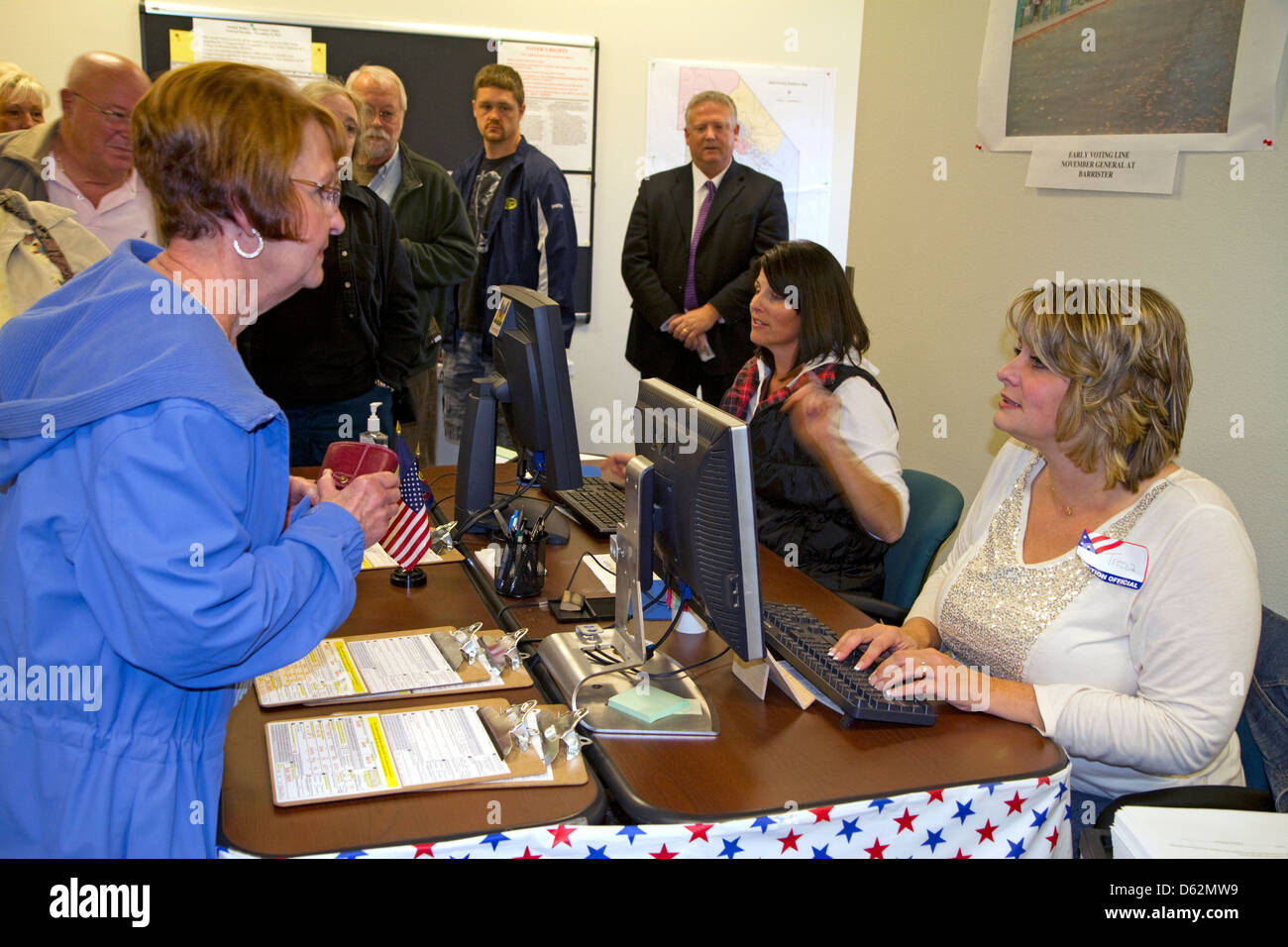 Voter checking in at a polling station in Boise, Idaho, USA. - Stock Image