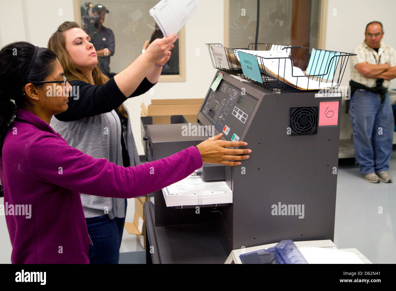 Ballot scanners tabulating voting results on election day in Boise, Idaho, USA. - Stock Image