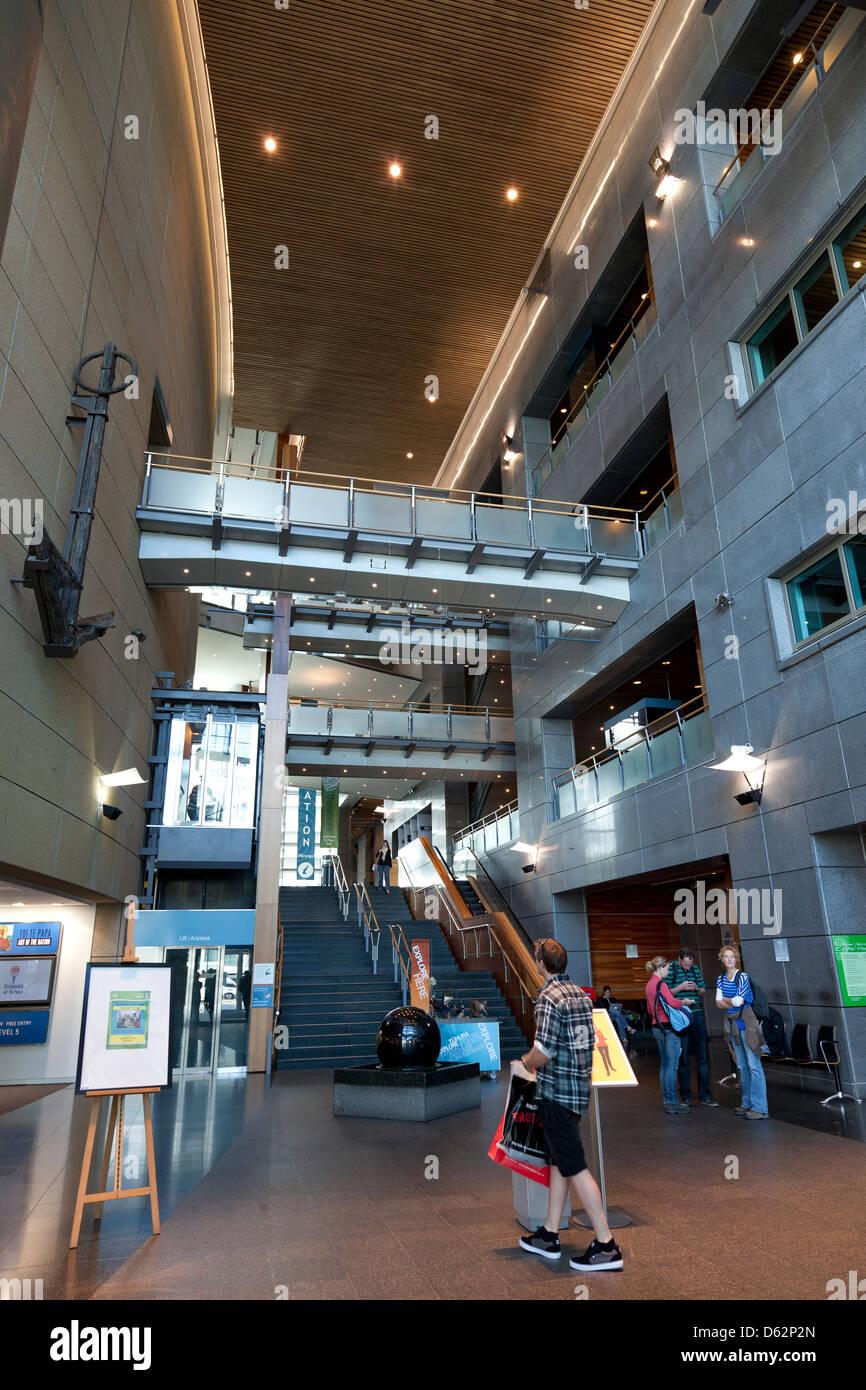 Entrance hall Te Papa Tongarewa museum, Wellington, New Zealand - Stock Image