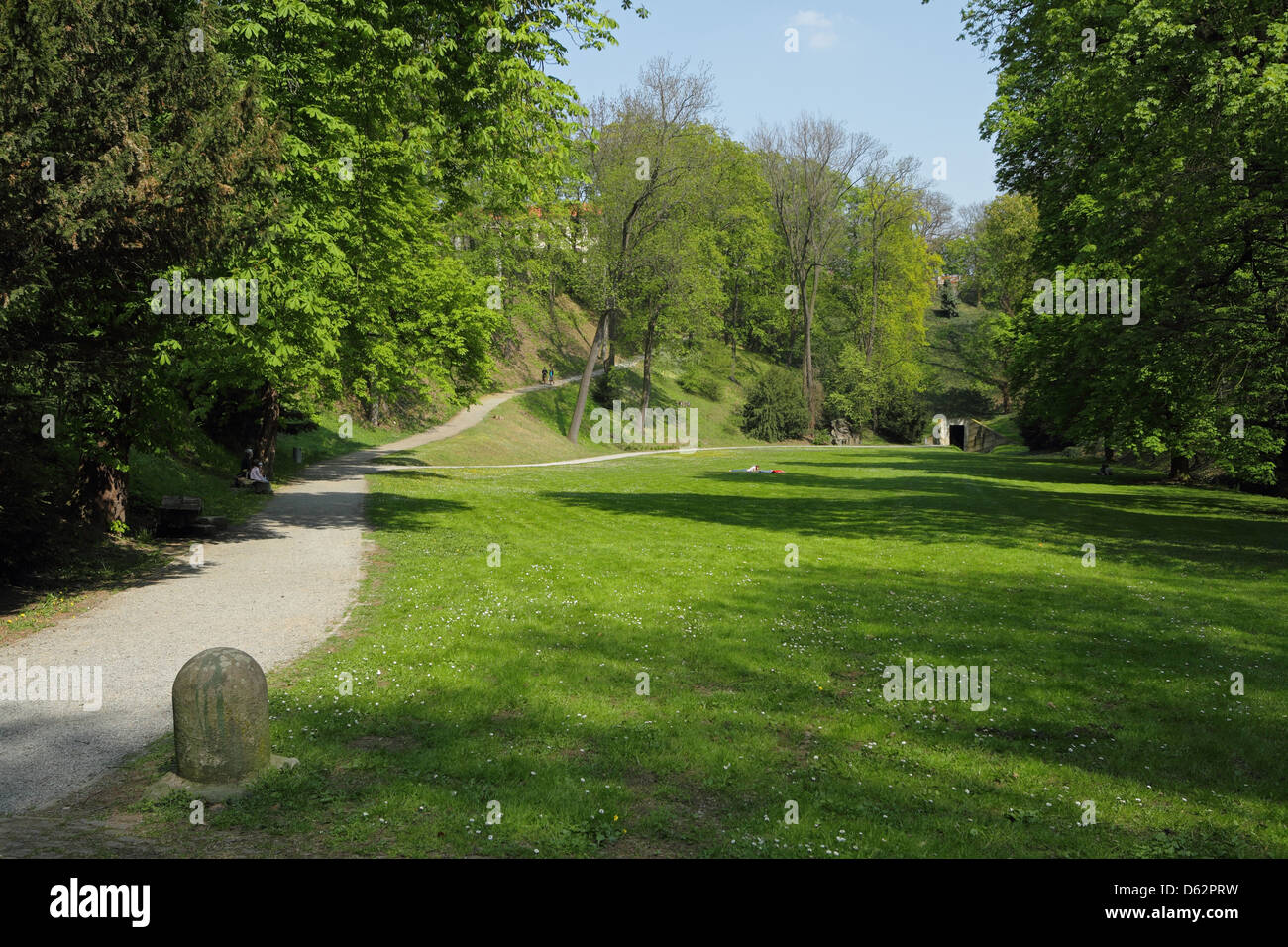 Letná Park is a large park on Letná hill, Prague Stock Photo