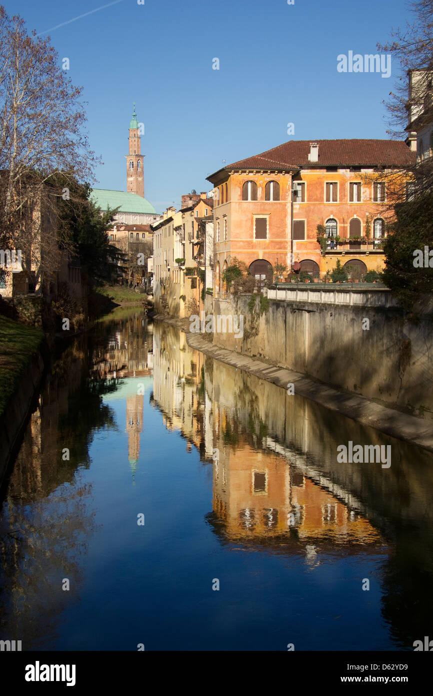 Europe; Italy; Italian; Vicenza; North; Veneto; Unesco; Palladio; Buildings; River; Mirrored; Mirror; - Stock Image