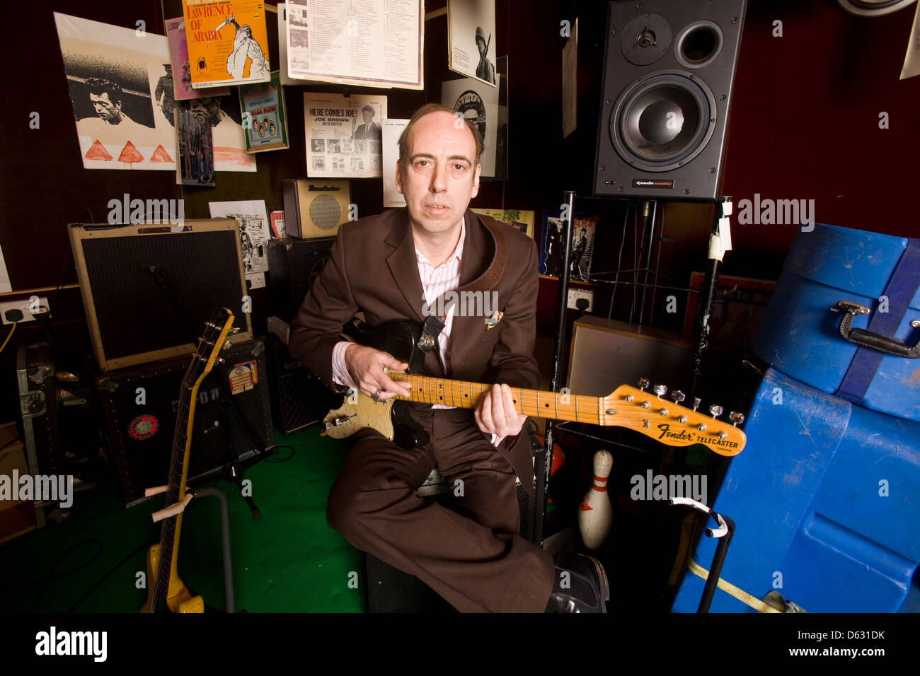 Mick Jones guitarist and vocalist from the clash and Big Audio Dynamite photographed in his studio in Acton, London, - Stock Image