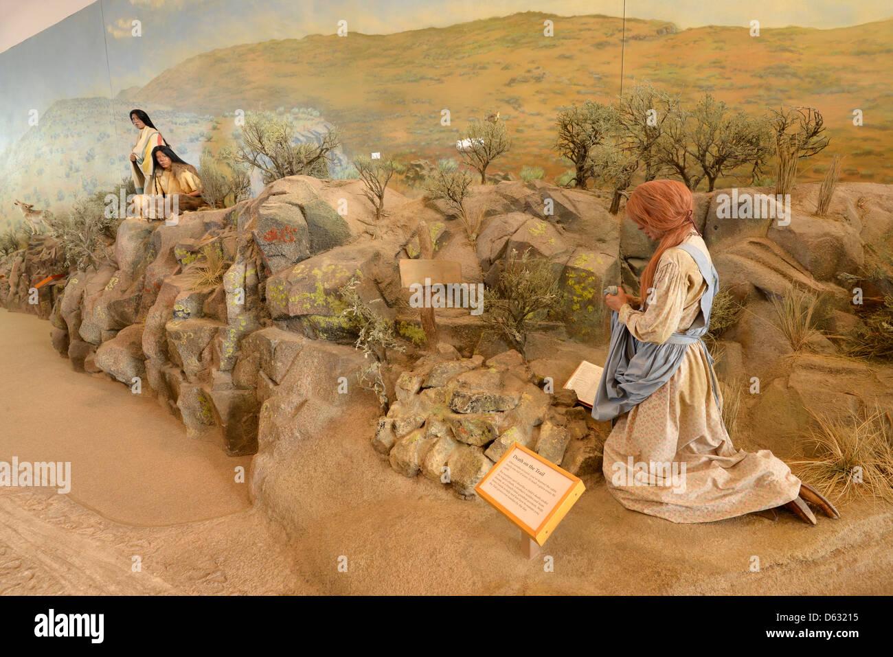 Diorama in the Oregon Trail Interpretive Center near Baker City, Oregon. - Stock Image