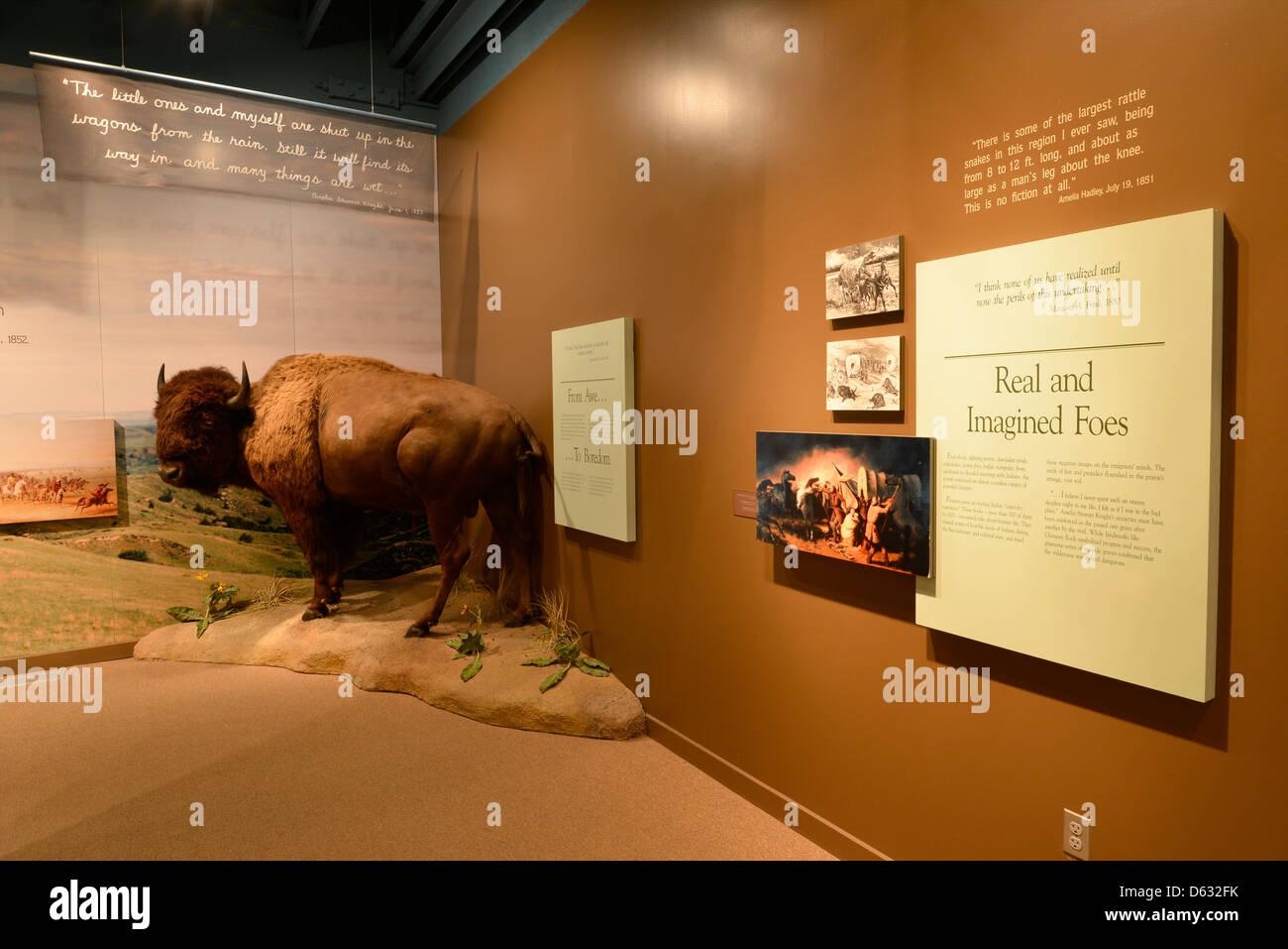 Exhibit in the Oregon Trail Interpretive Center near Baker City, Oregon. - Stock Image